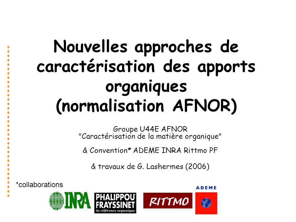 *collaborations Nouvelles approches de caractérisation des apports organiques (normalisation AFNOR) Groupe U44E AFNOR