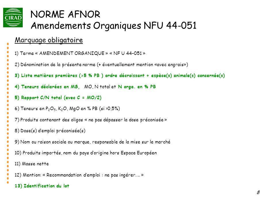 8 NORME AFNOR Amendements Organiques NFU 44-051 obligatoire Marquage obligatoire 1) Terme « AMENDEMENT ORGANIQUE » « NF U 44-051 » 2) Dénomination de