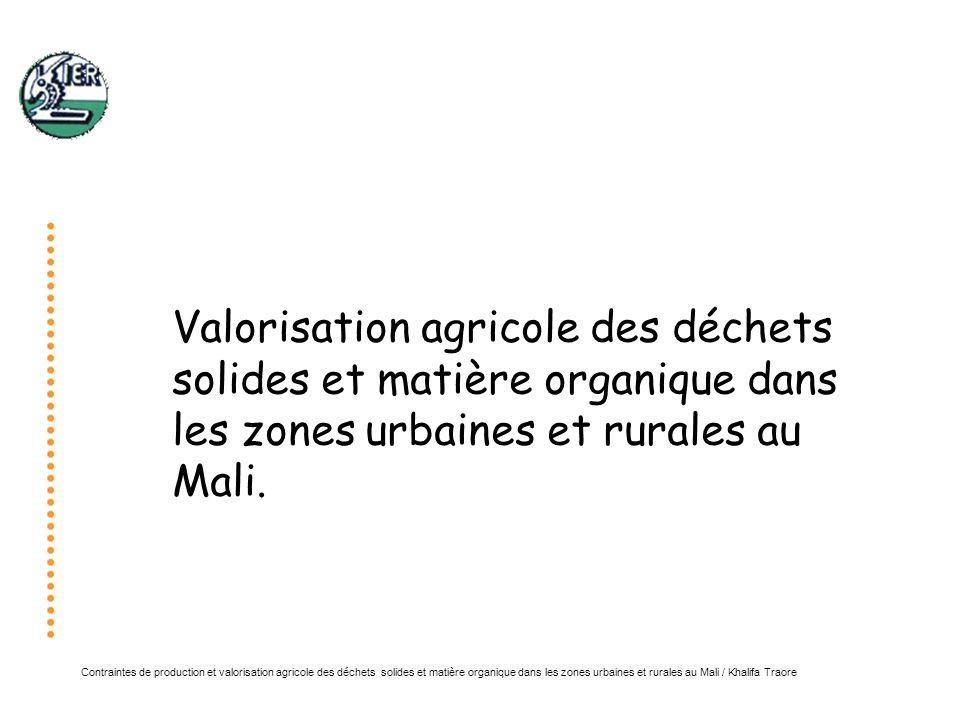 Contraintes de production et valorisation agricole des déchets solides et matière organique dans les zones urbaines et rurales au Mali / Khalifa Traore Plan Présentation de la zone détude Problématiques générales de la gestion de la MO Valorisation des déchets organiques et des composts urbains Valorisation des déchets industriels Valorisation des plantes aquatiques Gestion et valorisation de la MO dans les exploitations agricoles MO et Marche du carbone Conclusion