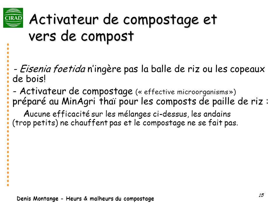Denis Montange - Heurs & malheurs du compostage 15 Activateur de compostage et vers de compost - Eisenia foetida ningère pas la balle de riz ou les co
