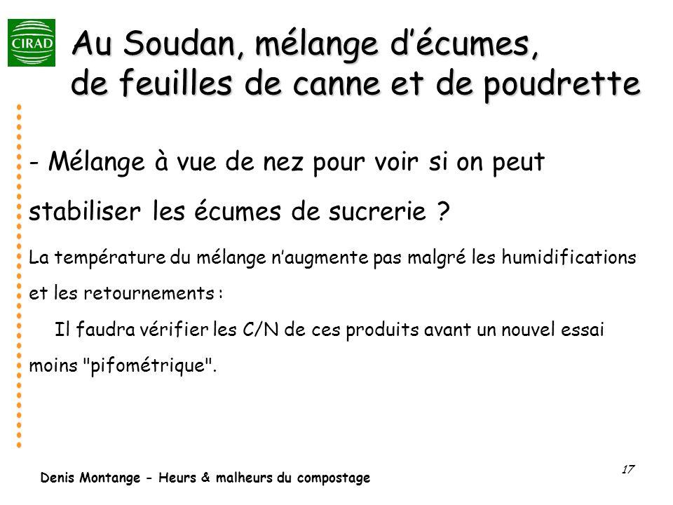 Denis Montange - Heurs & malheurs du compostage 17 Au Soudan, mélange décumes, de feuilles de canne et de poudrette - Mélange à vue de nez pour voir s