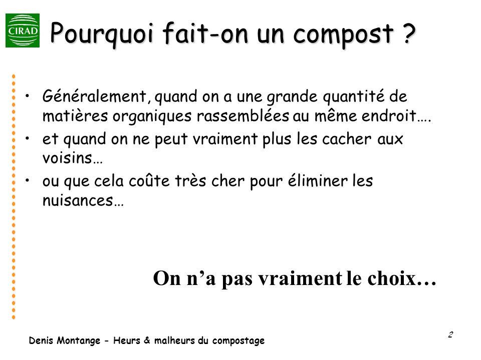 Denis Montange - Heurs & malheurs du compostage 2 Pourquoi fait-on un compost ? Généralement, quand on a une grande quantité de matières organiques ra