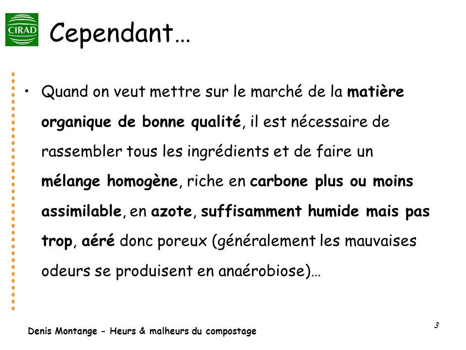 Denis Montange - Heurs & malheurs du compostage 3 Cependant… Quand on veut mettre sur le marché de la matière organique de bonne qualité, il est néces