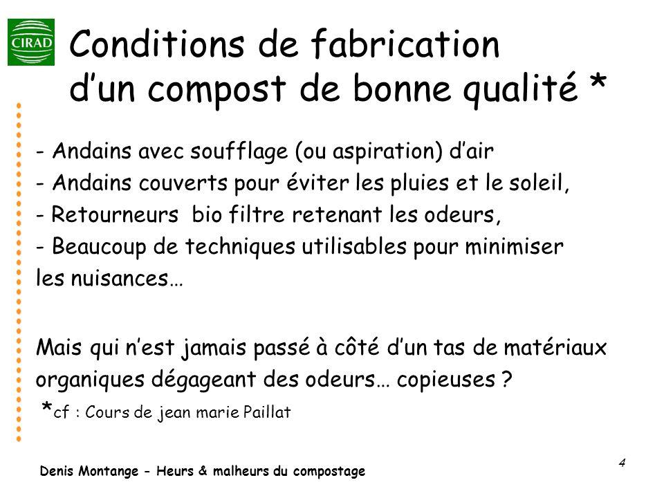 Denis Montange - Heurs & malheurs du compostage 4 Conditions de fabrication dun compost de bonne qualité * - Andains avec soufflage (ou aspiration) da