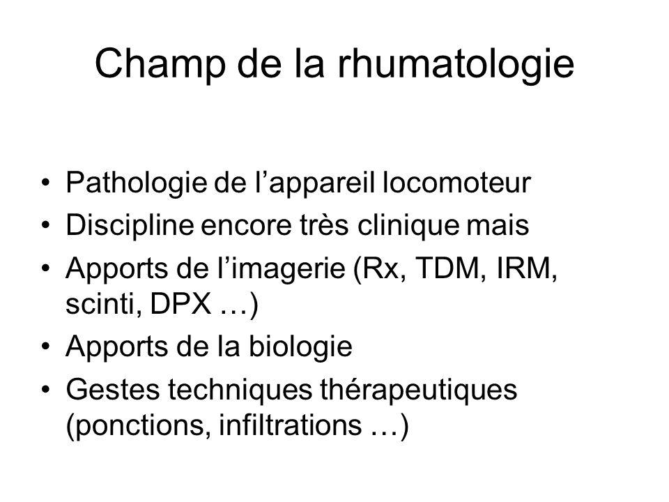 Champ de la rhumatologie Pathologie de lappareil locomoteur Discipline encore très clinique mais Apports de limagerie (Rx, TDM, IRM, scinti, DPX …) Ap