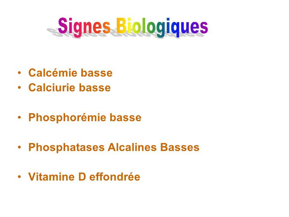 Calcémie basse Calciurie basse Phosphorémie basse Phosphatases Alcalines Basses Vitamine D effondrée