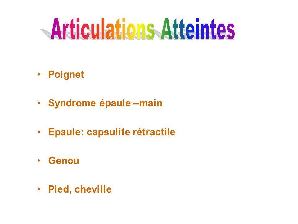 Poignet Syndrome épaule –main Epaule: capsulite rétractile Genou Pied, cheville