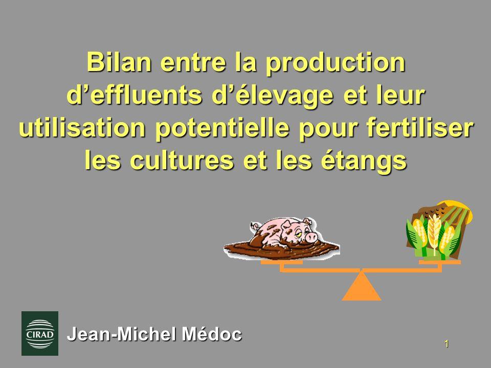 1 Bilan entre la production deffluents délevage et leur utilisation potentielle pour fertiliser les cultures et les étangs Jean-Michel Médoc
