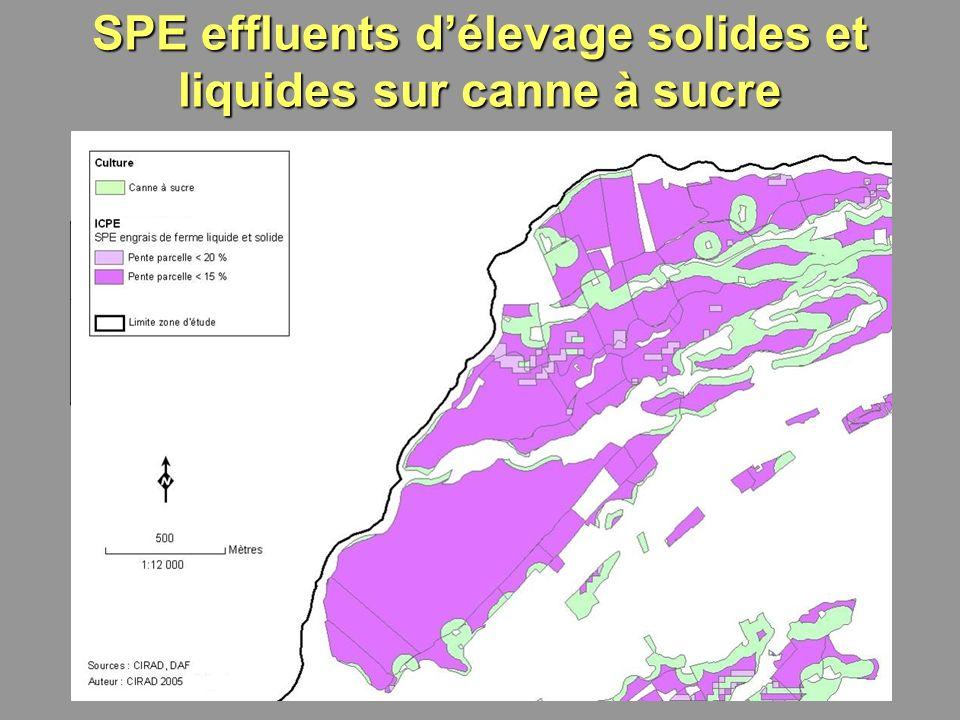 16 Limite de pente maximale pour lépandage Surface totale (ha) Surface potentiellement épandable (ha et %) Surfaces non épandables (ha) ICPE 15%117954546%634 20%117959851%581 SPE effluents délevage solides et liquides sur canne à sucre