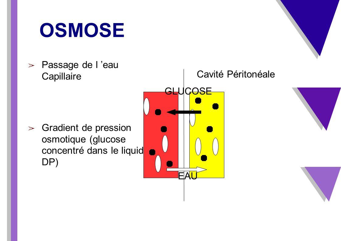 OSMOSE Passage de l eau Capillaire Gradient de pression osmotique (glucose concentré dans le liquide de DP) Cavité Péritonéale GLUCOSE EAU