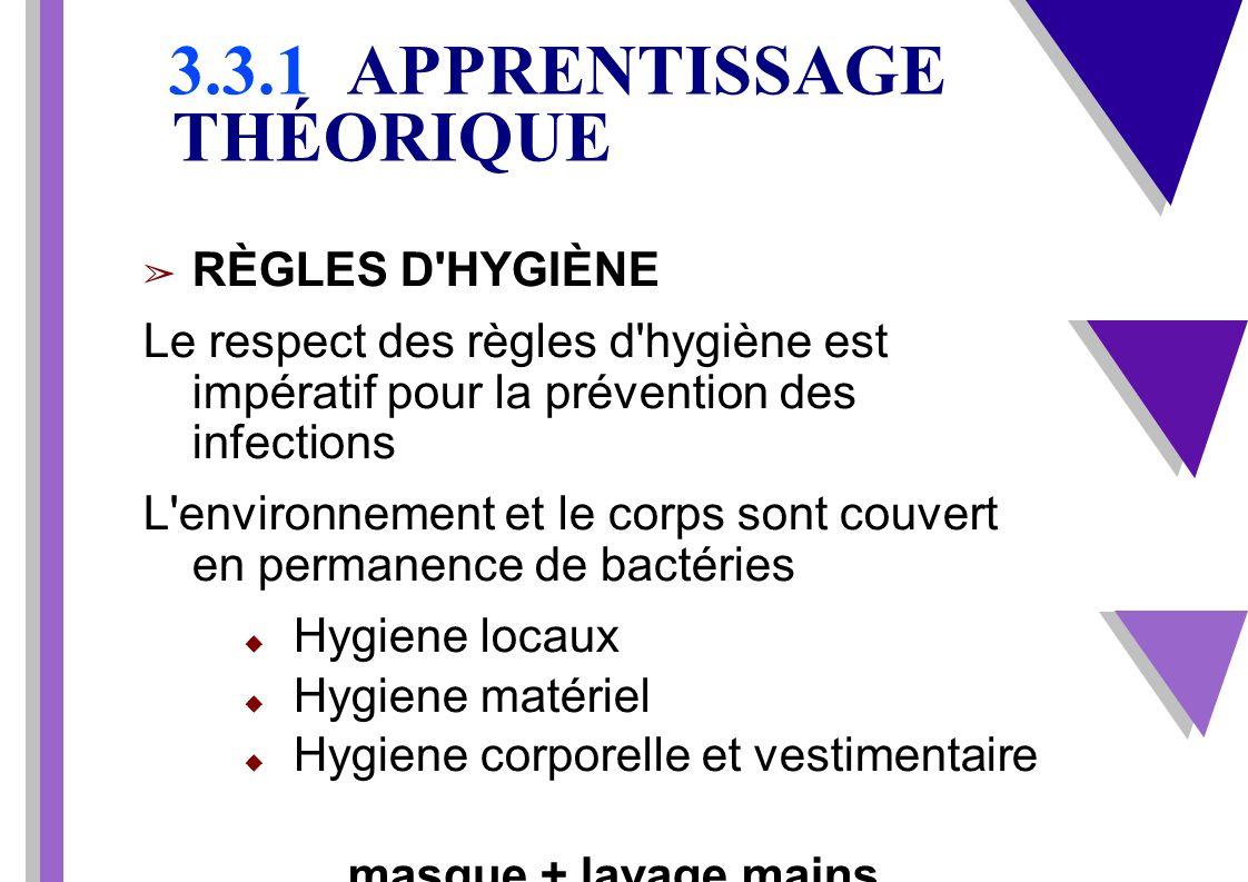 3.3.1 APPRENTISSAGE THÉORIQUE RÈGLES D'HYGIÈNE Le respect des règles d'hygiène est impératif pour la prévention des infections L'environnement et le c