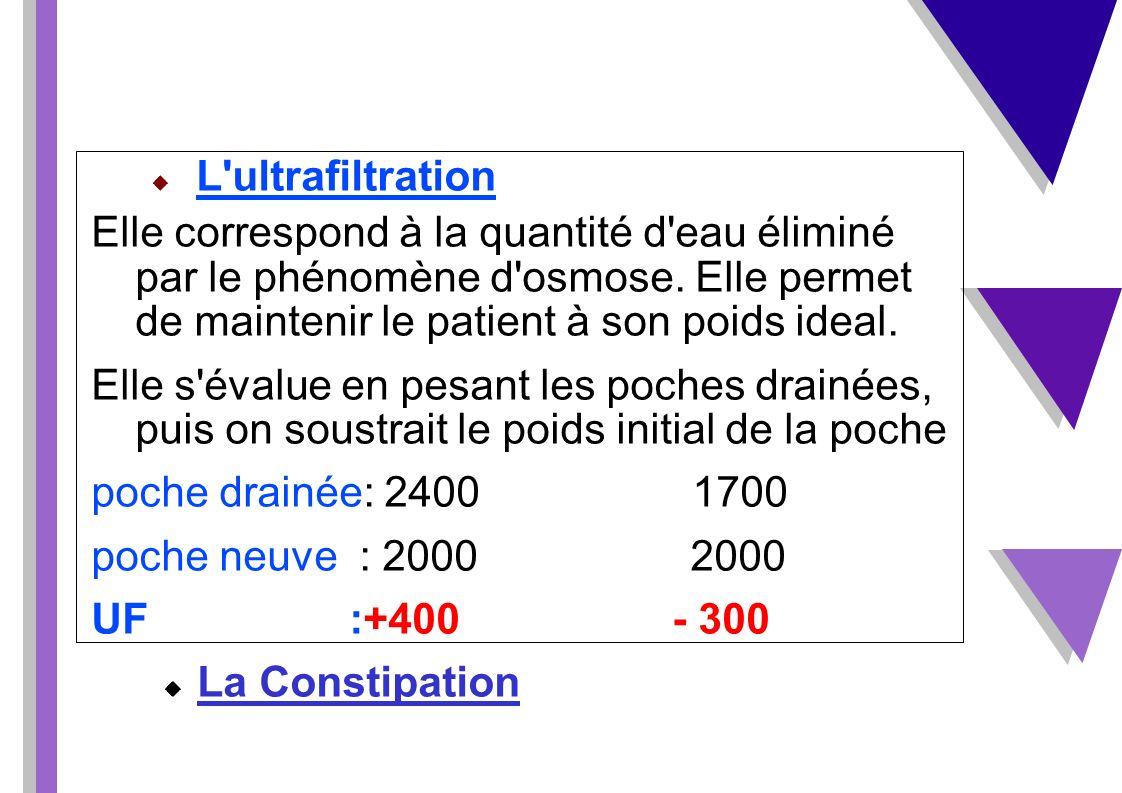 L'ultrafiltration Elle correspond à la quantité d'eau éliminé par le phénomène d'osmose. Elle permet de maintenir le patient à son poids ideal. Elle s