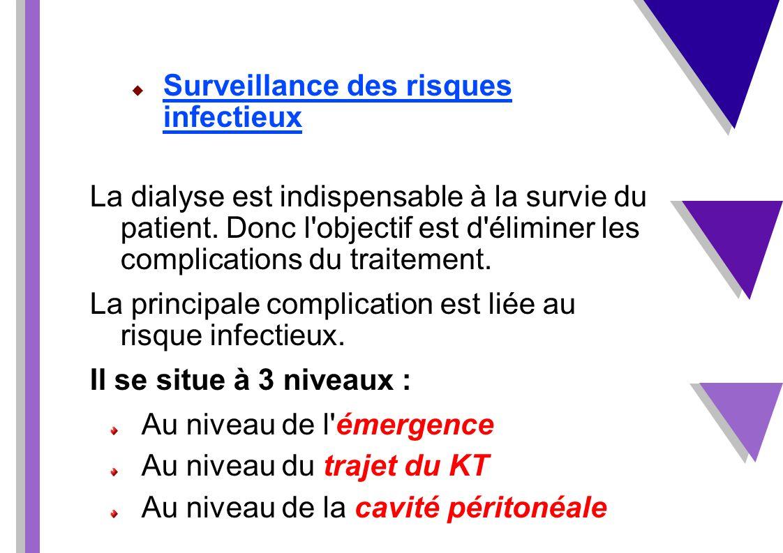 Surveillance des risques infectieux La dialyse est indispensable à la survie du patient. Donc l'objectif est d'éliminer les complications du traitemen