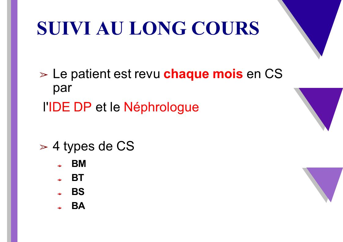 SUIVI AU LONG COURS Le patient est revu chaque mois en CS par l'IDE DP et le Néphrologue 4 types de CS BM BT BS BA