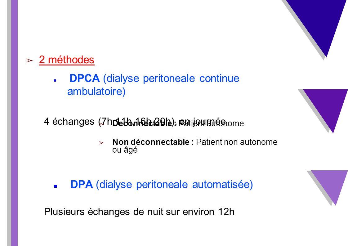 2 méthodes DPCA (dialyse peritoneale continue ambulatoire) 4 échanges (7h,11h,16h,20h), en journée DPA (dialyse peritoneale automatisée) Plusieurs éch