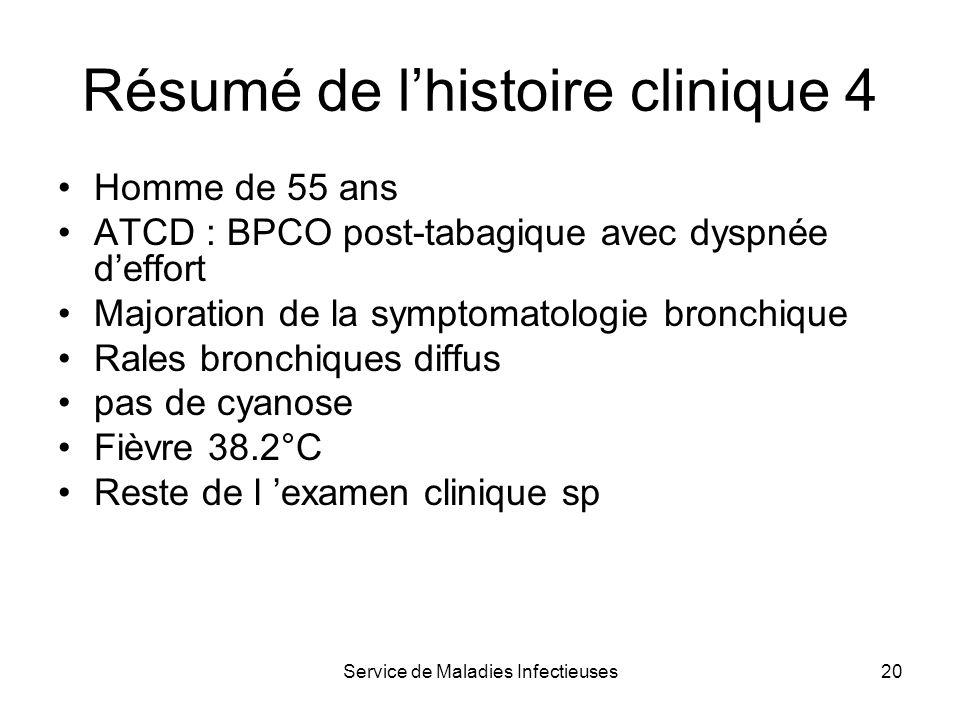 Service de Maladies Infectieuses20 Résumé de lhistoire clinique 4 Homme de 55 ans ATCD : BPCO post-tabagique avec dyspnée deffort Majoration de la sym