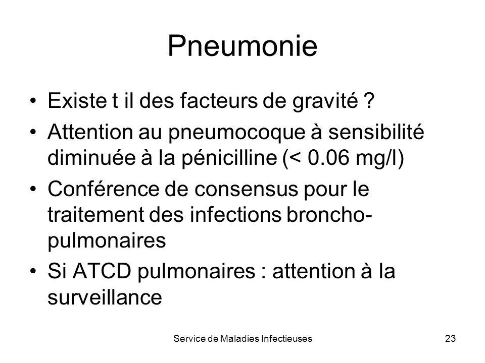 Service de Maladies Infectieuses23 Pneumonie Existe t il des facteurs de gravité ? Attention au pneumocoque à sensibilité diminuée à la pénicilline (<