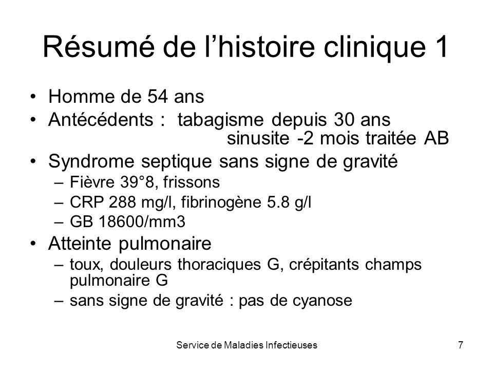 Service de Maladies Infectieuses7 Résumé de lhistoire clinique 1 Homme de 54 ans Antécédents : tabagisme depuis 30 ans sinusite -2 mois traitée AB Syn