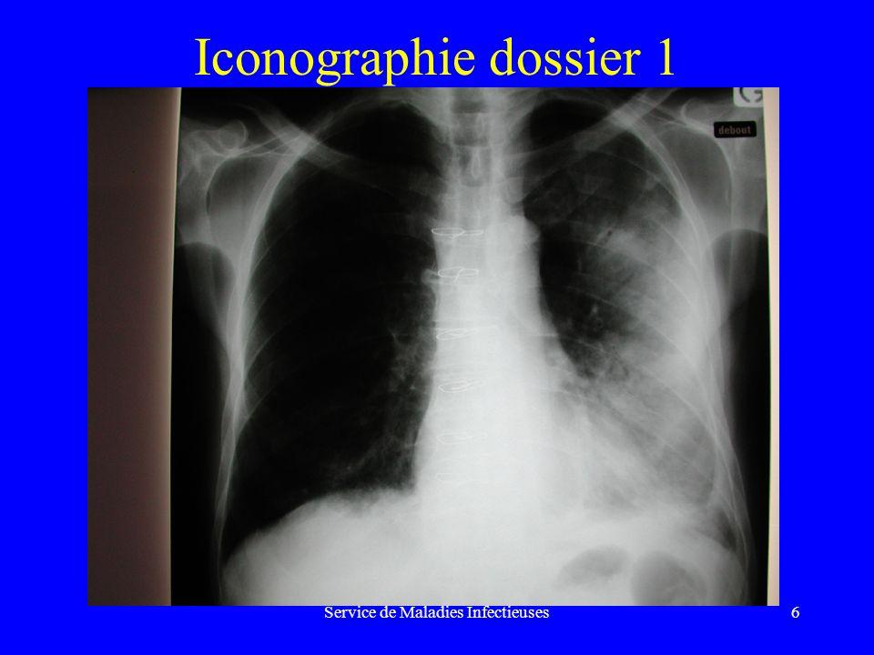 Service de Maladies Infectieuses17 Pneumonie communautaire, adulte ambulatoire, avec comorbidités et/ou éthylisme chronique et/ou âgés de plus de 65 ans, sans signe de gravité, ou adulte requérant une hospitalisation en médecine ContextePremier choixAlternative Cas généralAmox + ac clav 1 g x 3/jCeftriaxone 1 g/j ou céfotaxime 3 g/j Possibilité[Amox + ac clav 1 g x 3/j[(Ceftriaxone 1 g/j ou bactéries+ macrolide]céfotaxime 3 g/j) + macrolide] intracellulairesouou [Amoxicilline[Quinolone antipneumococcique + ofloxacine]PO en monothérapie] SuspicionAmox.+ ac clav inj 1 g x 3/j[(Ceftriaxone 1 g/j ou céfotaxime 3 g/j inhalation+ métronidazole]