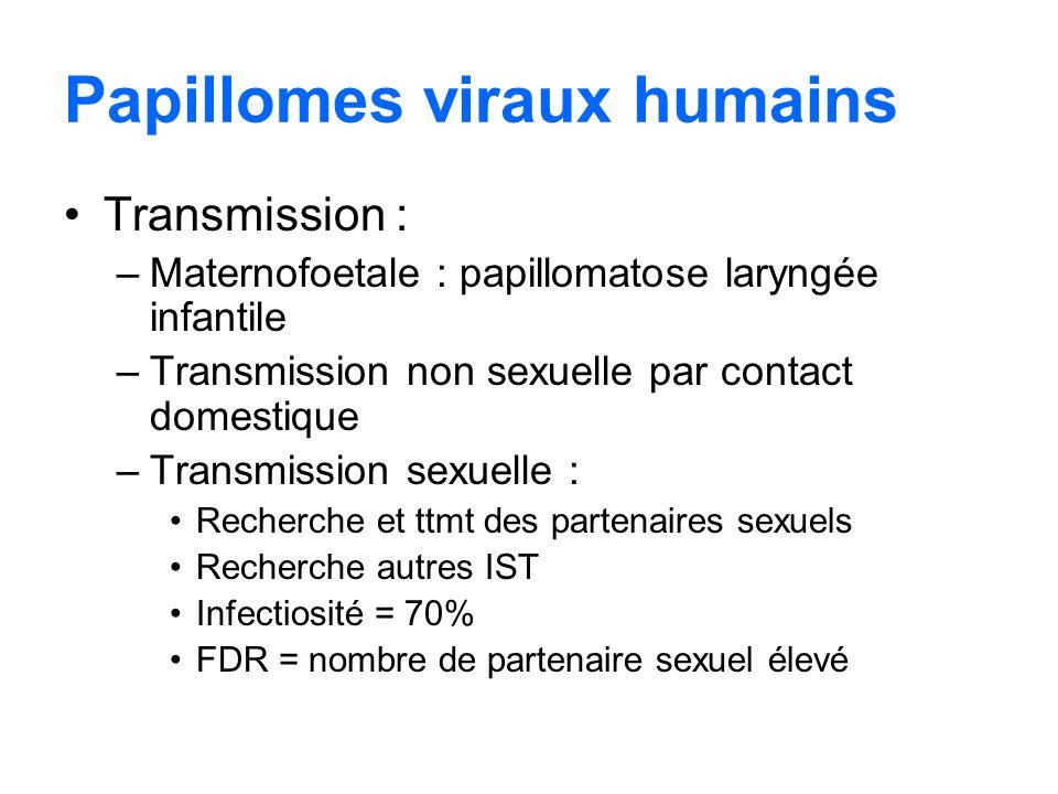 Papillomes viraux humains Transmission : –Maternofoetale : papillomatose laryngée infantile –Transmission non sexuelle par contact domestique –Transmi