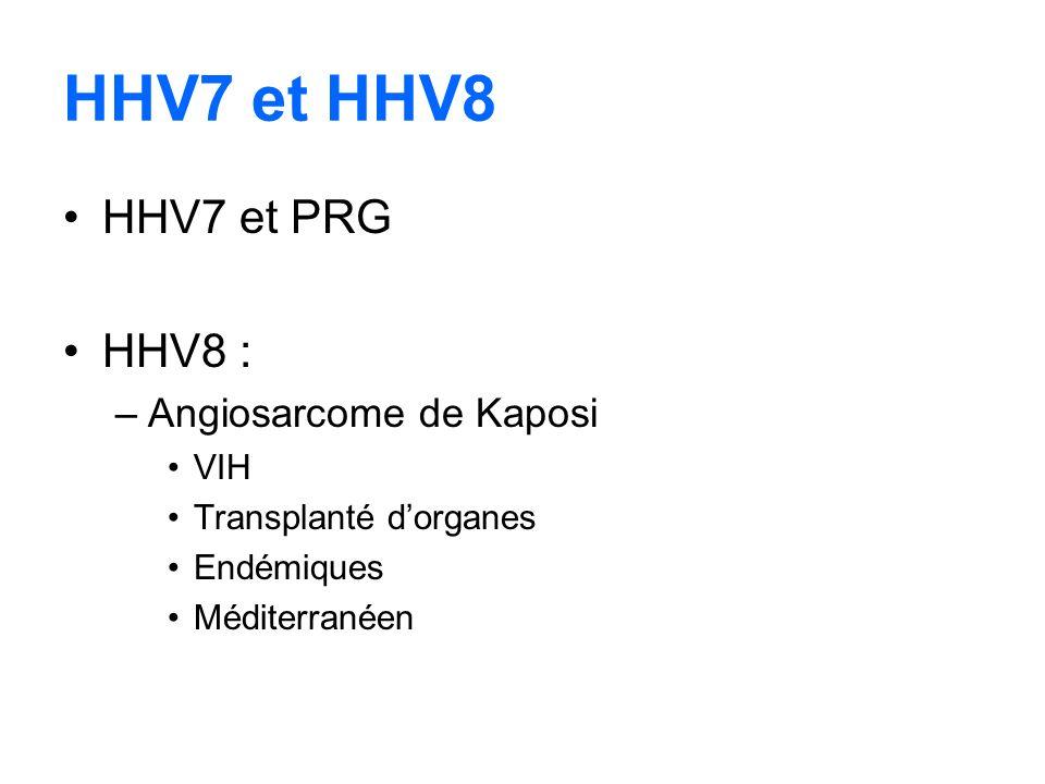HHV7 et HHV8 HHV7 et PRG HHV8 : –Angiosarcome de Kaposi VIH Transplanté dorganes Endémiques Méditerranéen