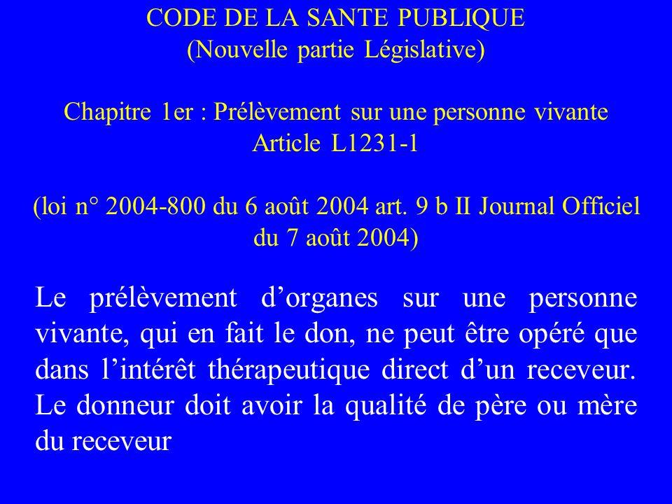 CODE DE LA SANTE PUBLIQUE (Nouvelle partie Législative) Chapitre 1er : Prélèvement sur une personne vivante Article L1231-1 (loi n° 2004-800 du 6 août