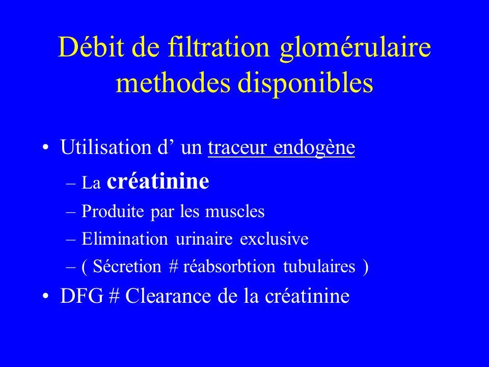 Débit de filtration glomérulaire methodes disponibles Utilisation d un traceur endogène –La créatinine –Produite par les muscles –Elimination urinaire