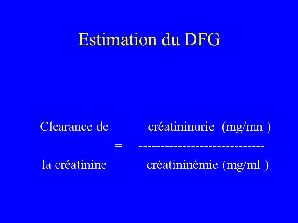 Estimation du DFG Clearance de créatininurie (mg/mn ) = ----------------------------- la créatinine créatininémie (mg/ml )