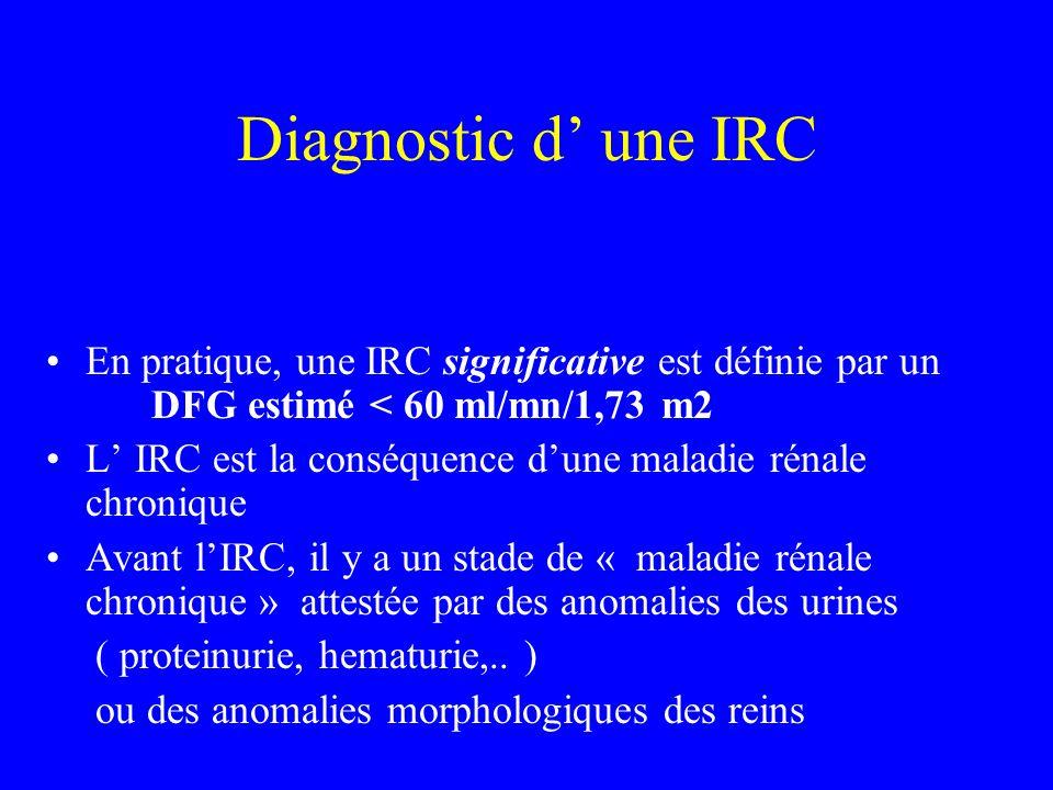Diagnostic d une IRC En pratique, une IRC significative est définie par un DFG estimé < 60 ml/mn/1,73 m2 L IRC est la conséquence dune maladie rénale