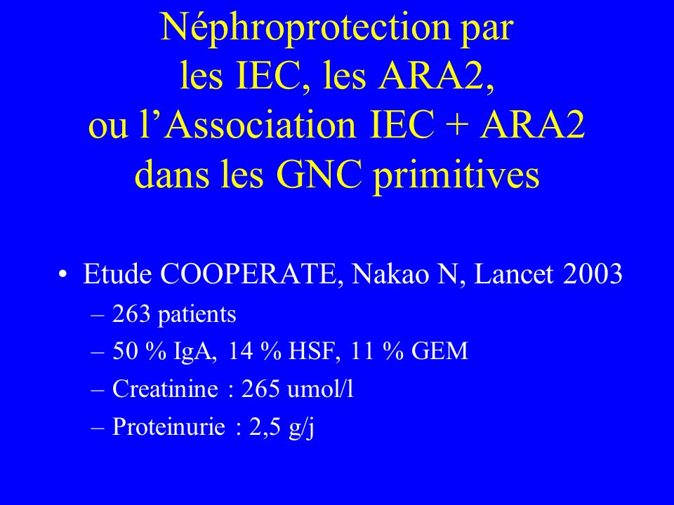 Néphroprotection par les IEC, les ARA2, ou lAssociation IEC + ARA2 dans les GNC primitives Etude COOPERATE, Nakao N, Lancet 2003 –263 patients –50 % I