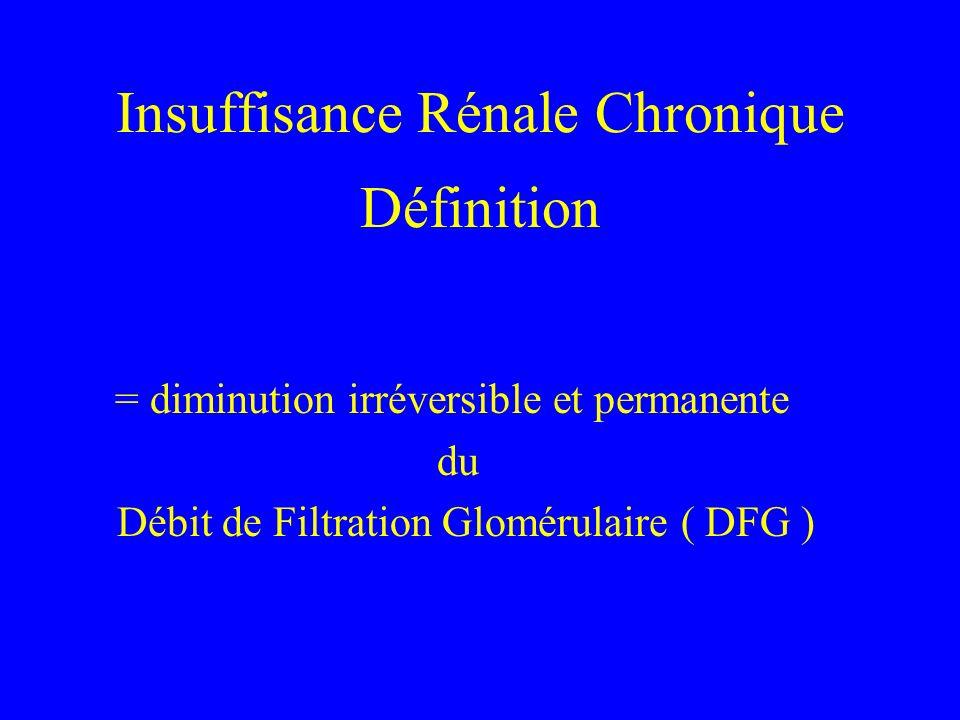 Diagnostic d une IRC En pratique, une IRC significative est définie par un DFG estimé < 60 ml/mn/1,73 m2 L IRC est la conséquence dune maladie rénale chronique Avant lIRC, il y a un stade de « maladie rénale chronique » attestée par des anomalies des urines ( proteinurie, hematurie,..