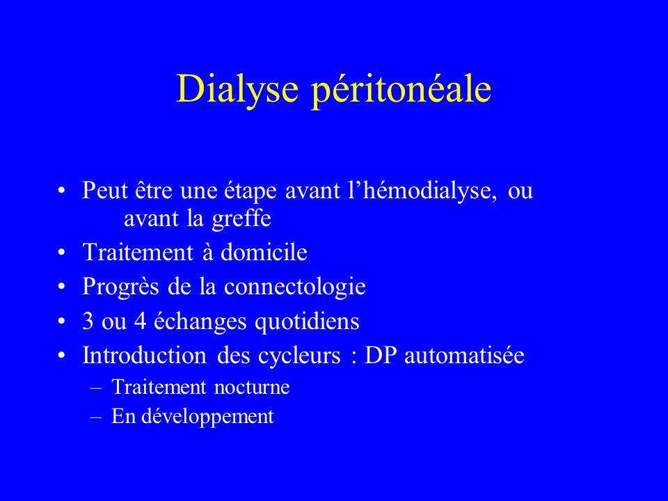 Dialyse péritonéale Peut être une étape avant lhémodialyse, ou avant la greffe Traitement à domicile Progrès de la connectologie 3 ou 4 échanges quoti