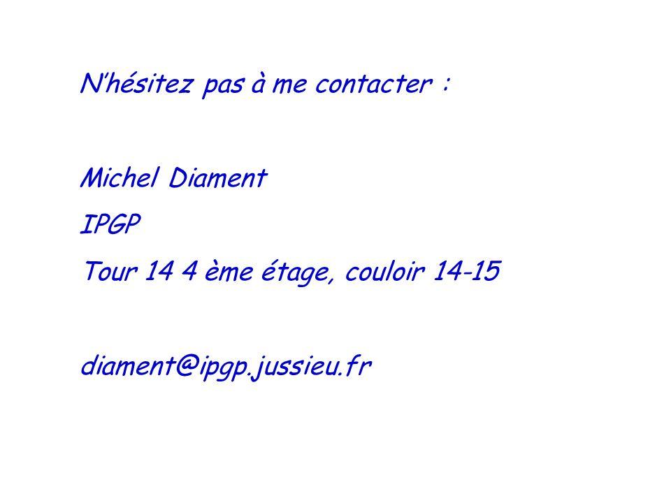 Nhésitez pas à me contacter : Michel Diament IPGP Tour 14 4 ème étage, couloir 14-15 diament@ipgp.jussieu.fr