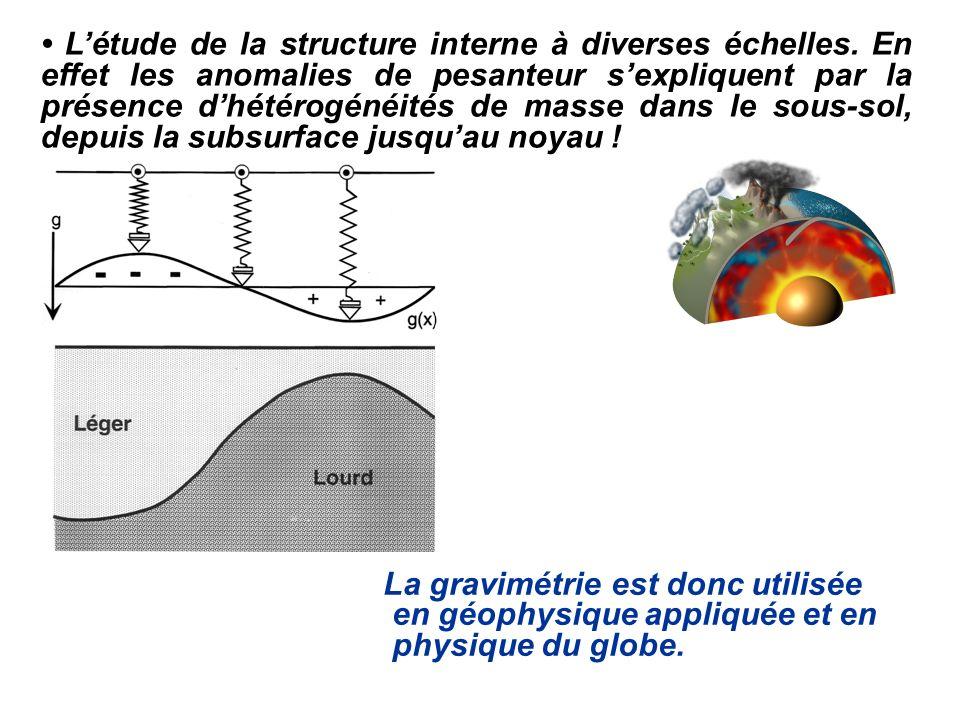 Létude de la structure interne à diverses échelles. En effet les anomalies de pesanteur sexpliquent par la présence dhétérogénéités de masse dans le s