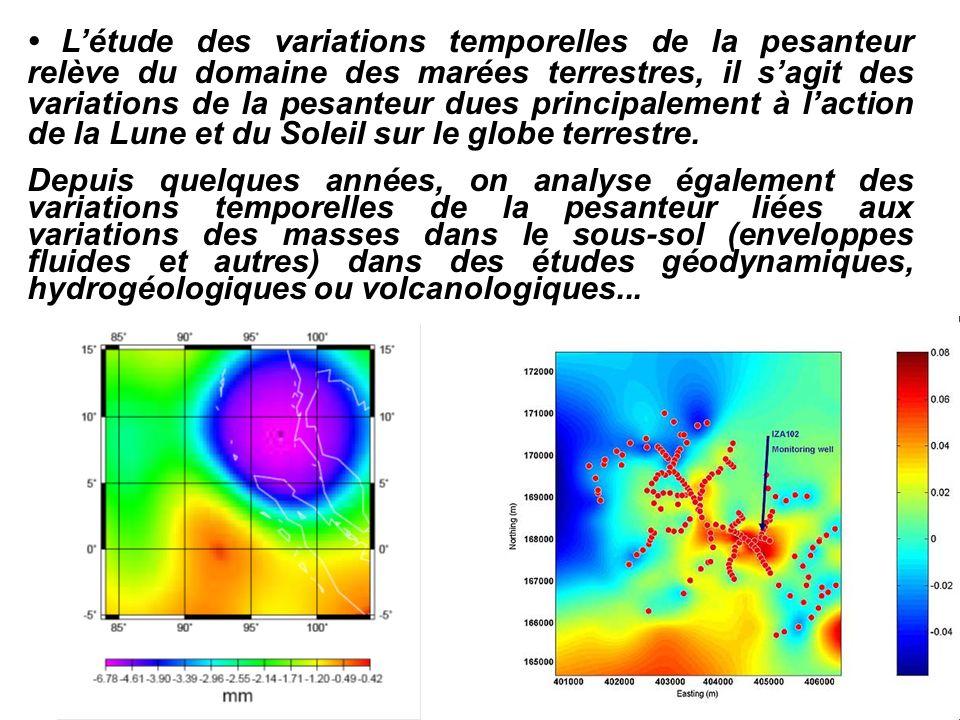 Létude des variations temporelles de la pesanteur relève du domaine des marées terrestres, il sagit des variations de la pesanteur dues principalement