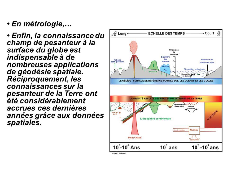 En métrologie,… Enfin, la connaissance du champ de pesanteur à la surface du globe est indispensable à de nombreuses applications de géodésie spatiale