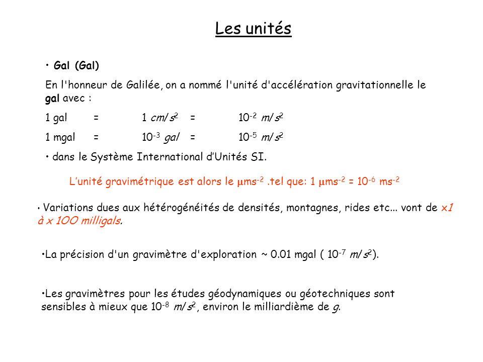 Les unités Gal (Gal) En l'honneur de Galilée, on a nommé l'unité d'accélération gravitationnelle le gal avec : 1 gal=1 cm/s 2 =10 -2 m/s 2 1 mgal=10 -