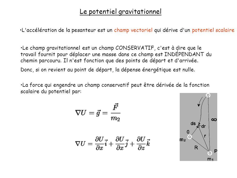 Le potentiel gravitationnel L'accélération de la pesanteur est un champ vectoriel qui dérive d'un potentiel scalaire Le champ gravitationnel est un ch