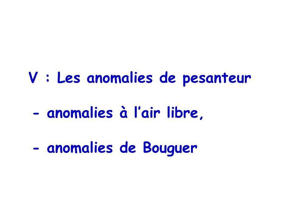V : Les anomalies de pesanteur - anomalies à lair libre, - anomalies de Bouguer