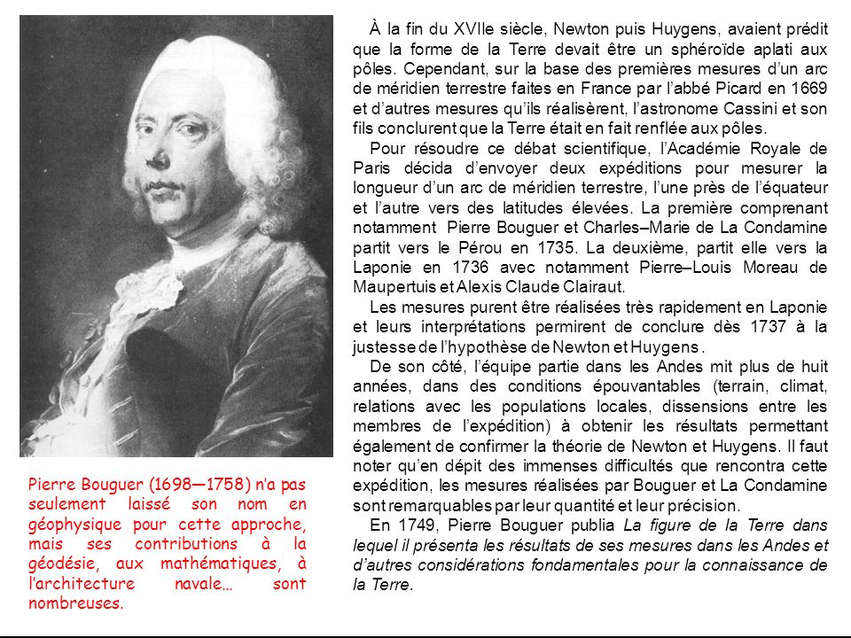 À la fin du XVIIe siècle, Newton puis Huygens, avaient prédit que la forme de la Terre devait être un sphéroïde aplati aux pôles. Cependant, sur la ba