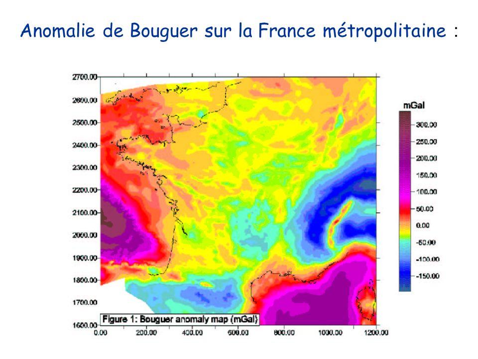 Anomalie de Bouguer sur la France métropolitaine :
