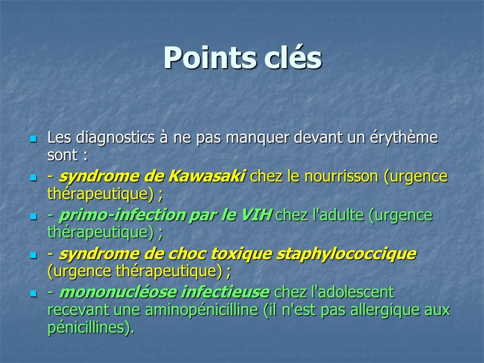 Points clés Les diagnostics à ne pas manquer devant un érythème sont : Les diagnostics à ne pas manquer devant un érythème sont : - syndrome de Kawasa