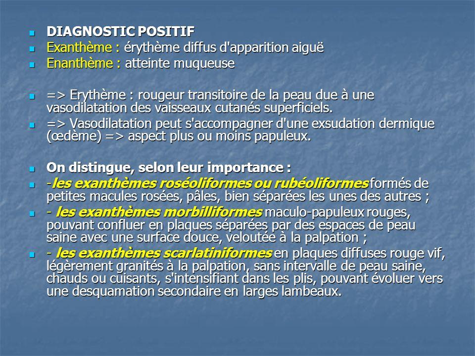 DIAGNOSTIC POSITIF DIAGNOSTIC POSITIF Exanthème : érythème diffus d'apparition aiguë Exanthème : érythème diffus d'apparition aiguë Enanthème : attein