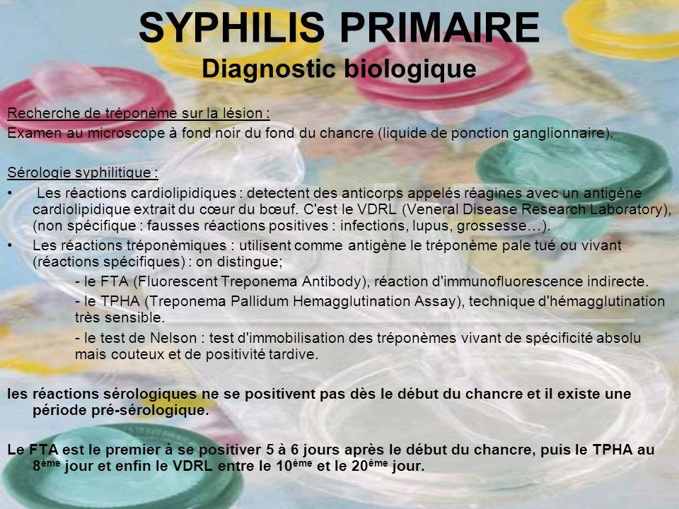 SYPHILIS PRIMAIRE Diagnostic biologique Recherche de tréponème sur la lésion : Examen au microscope à fond noir du fond du chancre (liquide de ponctio