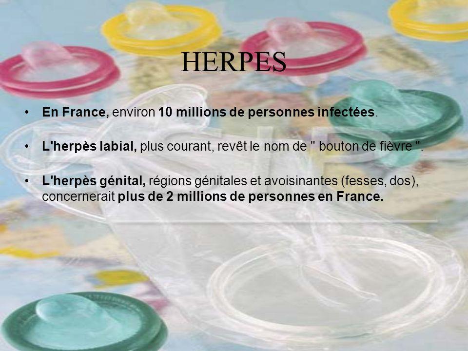 En France, environ 10 millions de personnes infectées. L'herpès labial, plus courant, revêt le nom de