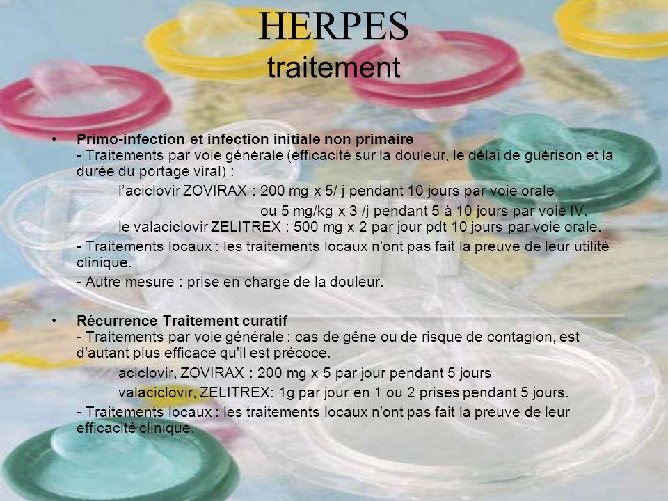 HERPES traitement Primo-infection et infection initiale non primaire - Traitements par voie générale (efficacité sur la douleur, le délai de guérison