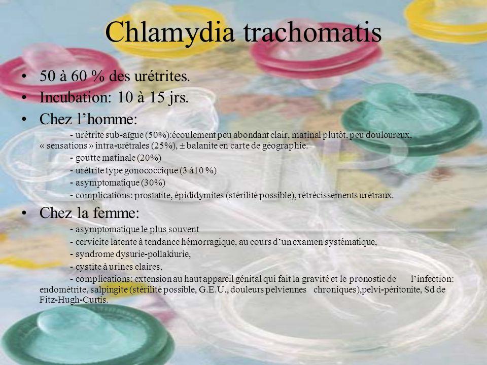 Chlamydia trachomatis 50 à 60 % des urétrites. Incubation: 10 à 15 jrs. Chez lhomme: - urétrite sub-aïgue (50%):écoulement peu abondant clair, matinal