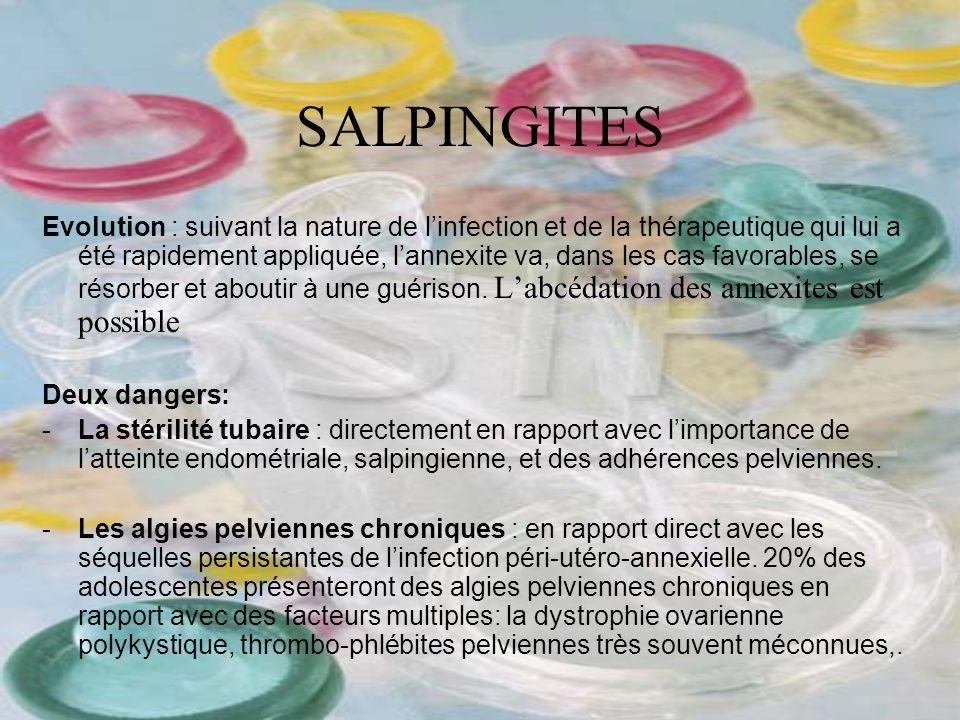 SALPINGITES Evolution : suivant la nature de linfection et de la thérapeutique qui lui a été rapidement appliquée, lannexite va, dans les cas favorabl