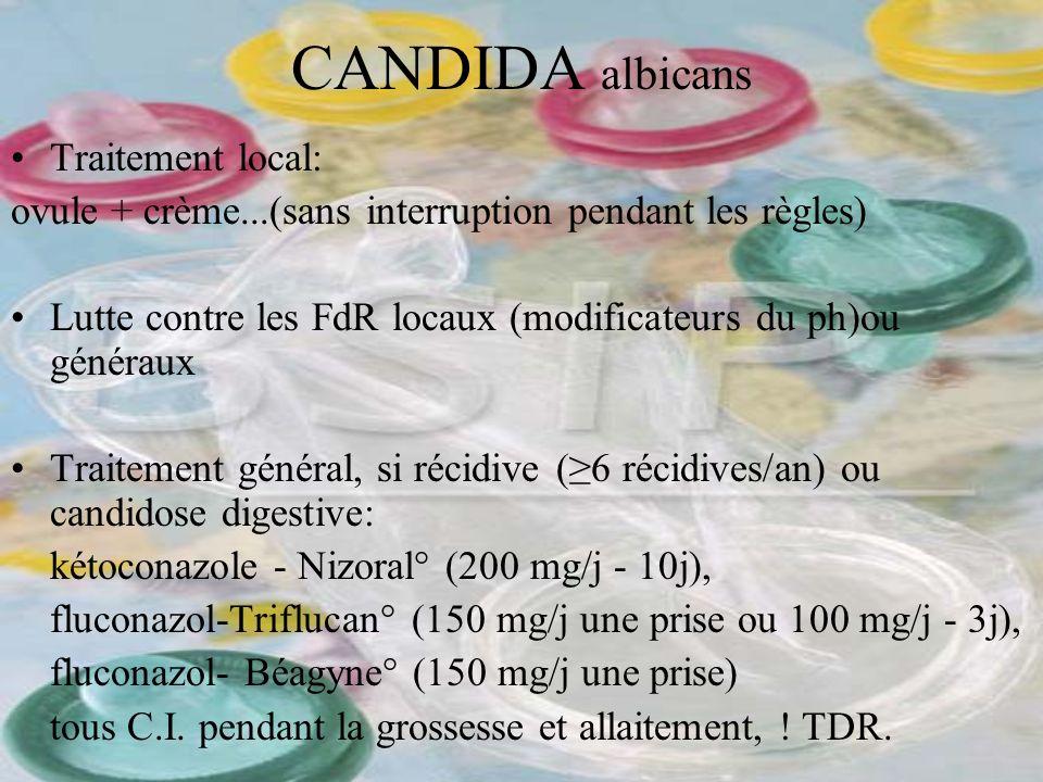 CANDIDA albicans Traitement local: ovule + crème...(sans interruption pendant les règles) Lutte contre les FdR locaux (modificateurs du ph)ou généraux