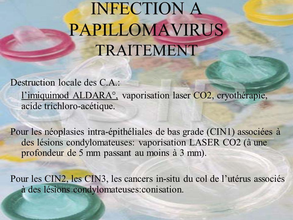 INFECTION A PAPILLOMAVIRUS TRAITEMENT Destruction locale des C.A.: limiquimod ALDARA°, vaporisation laser CO2, cryothérapie, acide trichloro-acétique.